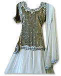 Gray/White Net Organza Lehnga- Pakistani Wedding Dress