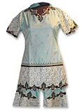 Sky Blue Katan Silk/Jamawar Sharara- Pakistani Bridal Dress